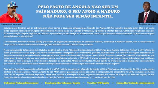 PELO FACTO DE ANGOLA NÃO SER UM PAÍS MADURO, O SEU APOIO A MADURO NÃO PODE SER SENÃOINFANTIL