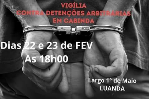 Luanda acolhe vigília de protesto contra as detenções dos presos políticos emCabinda